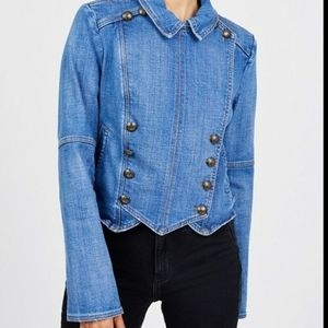 Free people military style denim jacket